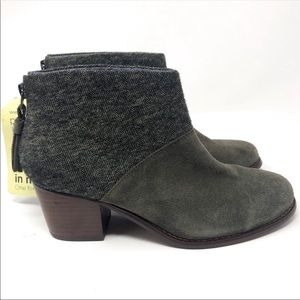 TOMS Leila Suede Ankle Boots Tarmac Olive Sz 6.5